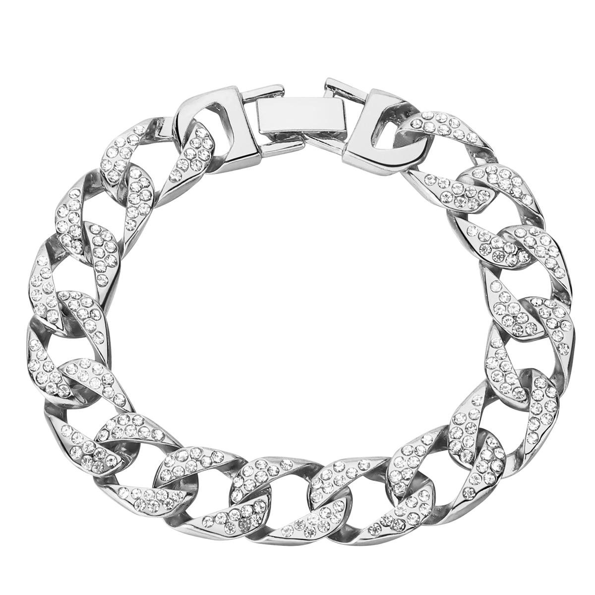 גברים צמיד קובני שרשרת קישור כסף מצופה אייס מתוך היפ הופ כבד צמידים & צמיד Pulseira Feminina תכשיטים