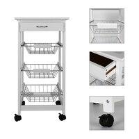 Portable Kitchen Rolling Tile Top Drop Leaf Storage Trolley Cart White Simple Morden Three layer Shelf Rack Kitchen Island HWC