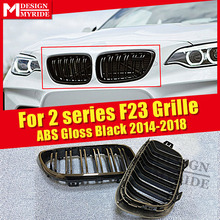 1 Pair F23 Front Bumper Grille ABS Material Gloss Black For F22 F23 220i 228i 2 Line Slats Front Kidney Grille Decorations 2014+ недорго, оригинальная цена