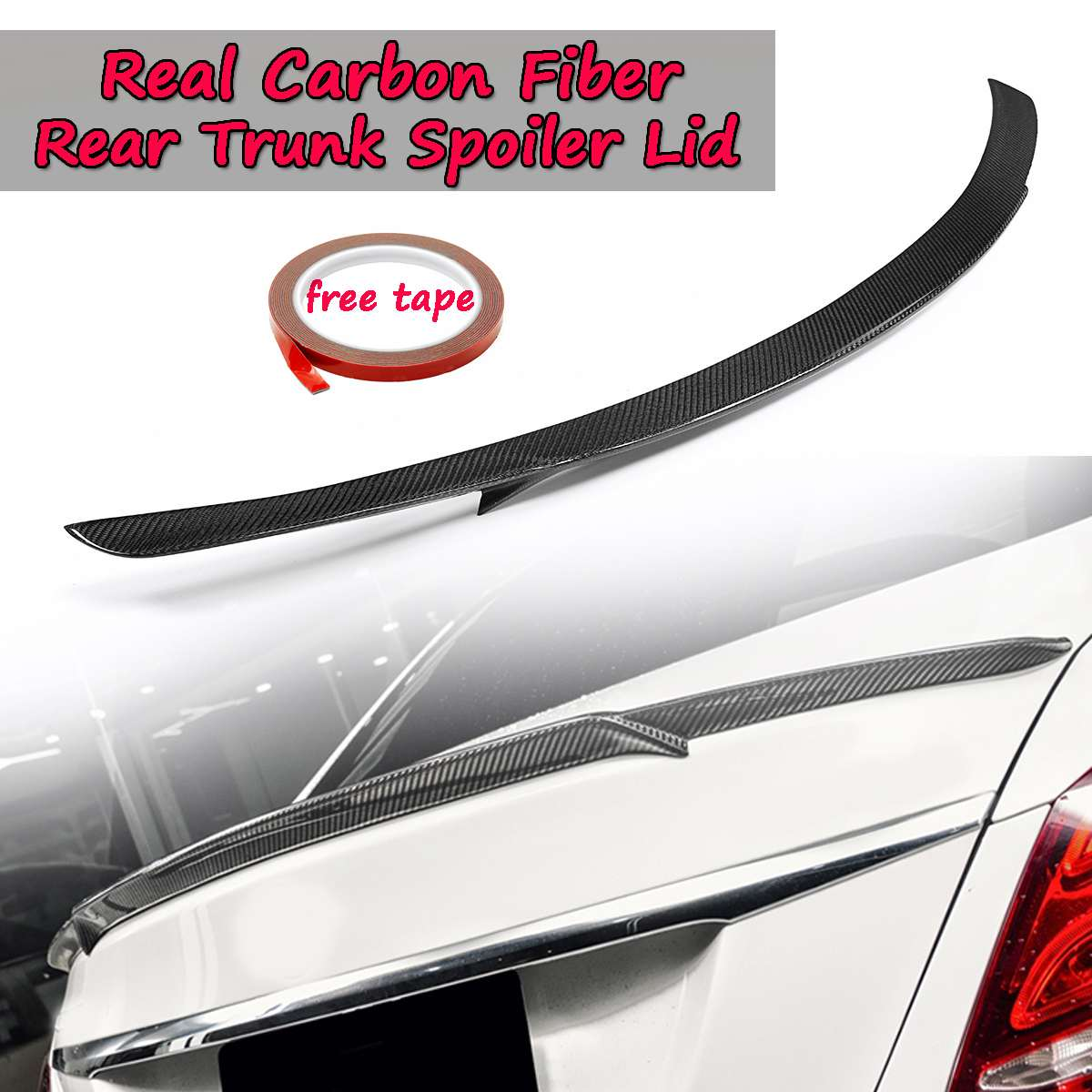 Real Carbon Fiber Trunk Spoiler Lid For Mercedes-Benz W205 C-Class & C63 For AMG S B STYLE 2015-2018 Rear Tunk Rear Wing Spoiler цена