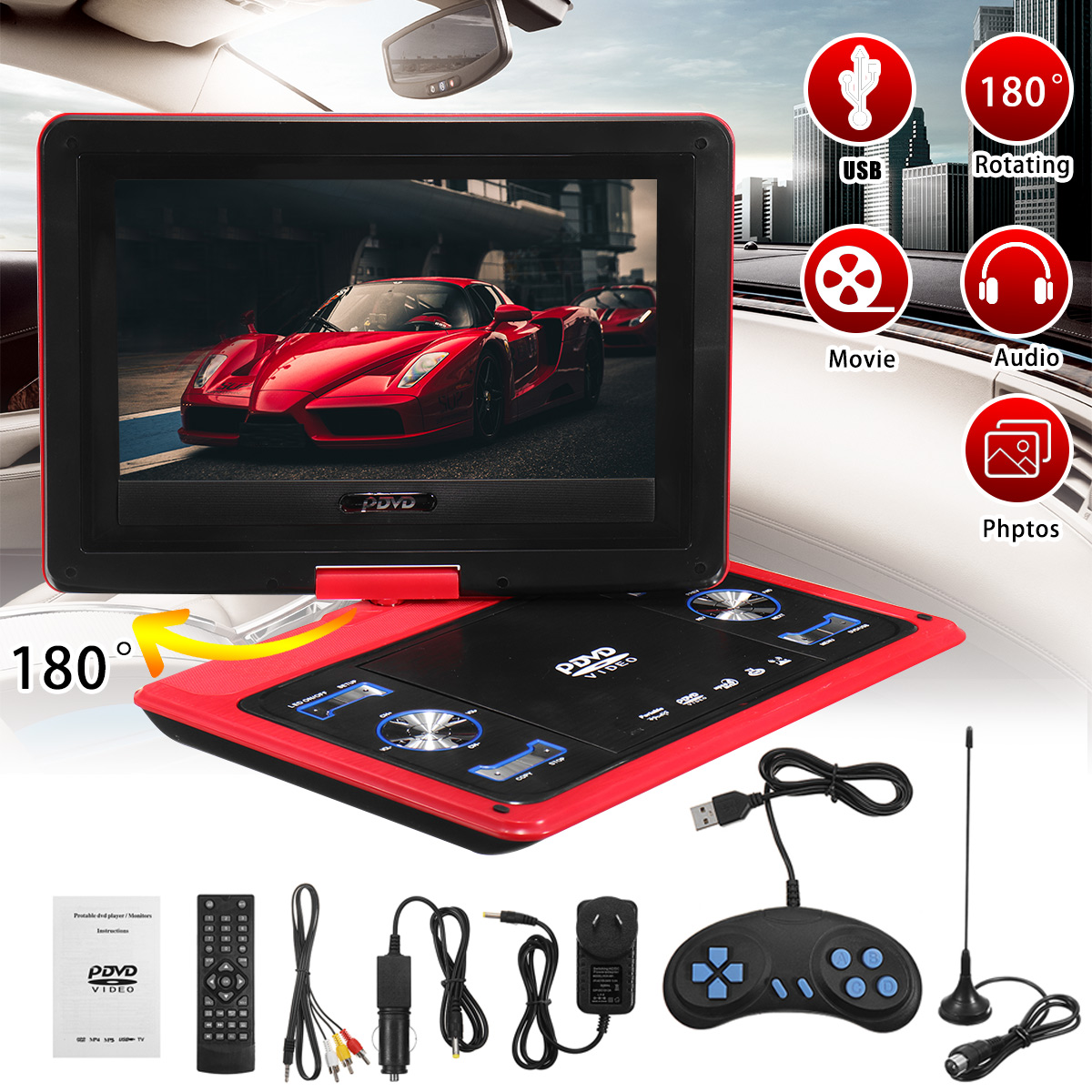 9Pcs 13.8 inch Portable DVD Player Rotate Digital Multimedia Player USB TV Support Game Function for Car Home Audio System9Pcs 13.8 inch Portable DVD Player Rotate Digital Multimedia Player USB TV Support Game Function for Car Home Audio System