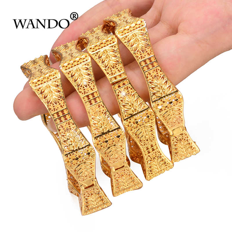 WANDO 4pcs/lot Trendy Arab Jewelry Bangles&Bracelet For Women Exquisite Hexagon Flower Bangle Gold Color Christmas Gift b151