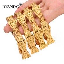 Bracelets à bijoux pour femmes arabes de dubaï et afrique, exquis, hexagonaux à fleurs, couleur or, cadeau de noël, 4 pièces/lot, b151