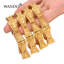 WANDO 4pcs/lot Trendy Arab Jewelry Bangles&Bracelet For Women Exquisite Hexagon Flower Bangle Gold Color Christmas Gift b151(China)