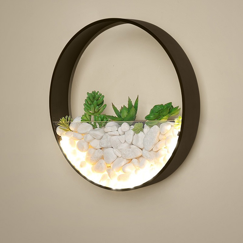 New Modern LED Wall Lamp Bedroom Bedside Decor Metal Wall Sconce White Black Lights Round Wall Mounted Artificial Flowers Stone