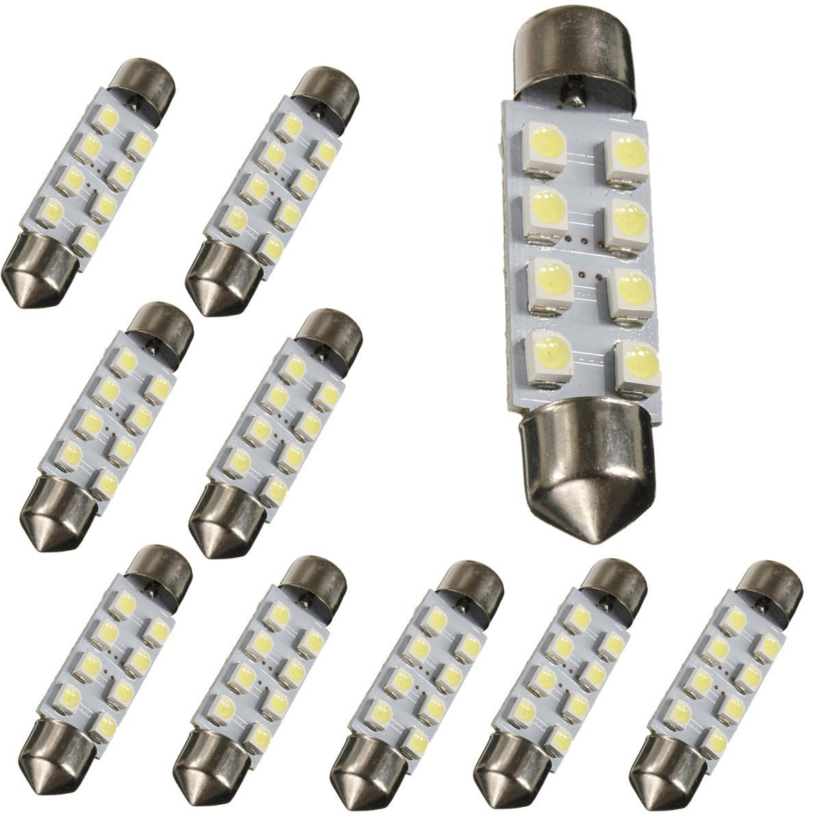 10 x White 42 mm 1210 SMD 8 <font><b>LED</b></font> DC <font><b>12</b></font> <font><b>V</b></font> Number plate light image