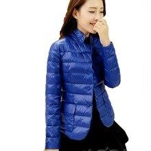 Suit Collar Short Down Cotton Jacket Women 2017 New Autumn Winter Long Sleeve Thin Coat High Quality  ls106