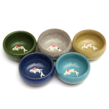 Jingdezhen Water Shallow Washing Brush Writing Room Four Treasures Colorful Fish Bowl Teacups