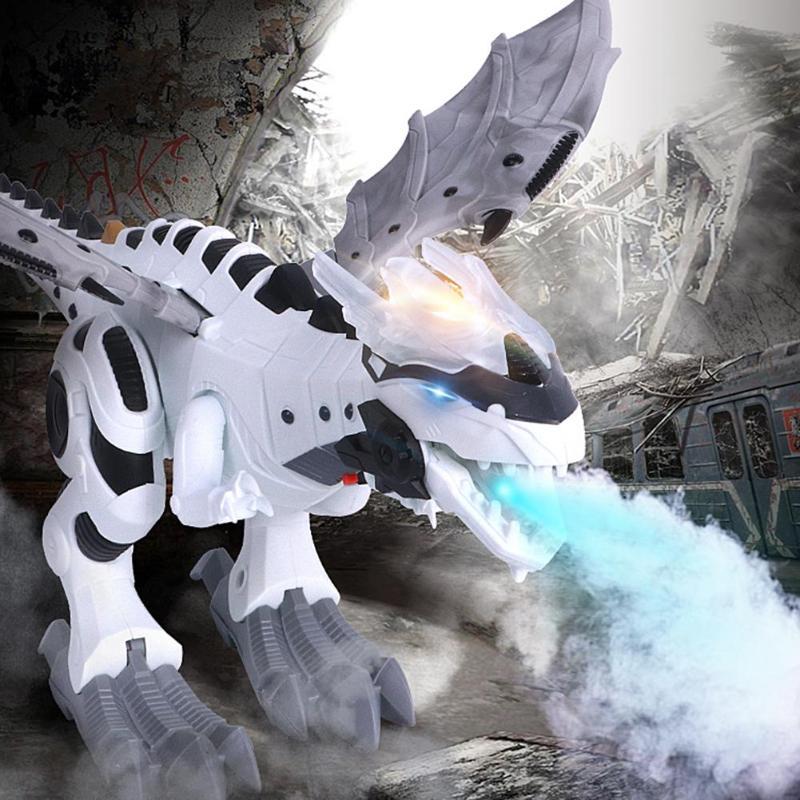 Dinossauro elétrico modelo kit crianças andando spray balanço robô brinquedo eletrônico modelo de animais com luz som brinquedos para crianças
