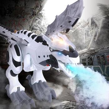 Kit de modelo de dinosaurios eléctricos para niños que caminan en aerosol Robot de juguete modelo de Animal electrónico con juguetes de sonido ligero para niños