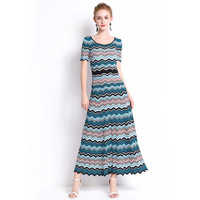 High end Quality Of Italian Style Knitwear New 2019 Summer Casual Color Striped Knitted Short Sleeved Goddess Dress S l Green