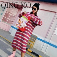 QING MO 2018 Autumn And Winter Women New Christmas Socks Doll Sweater Dress Color Matching Striped Knitted Sweater Skirt WYM036