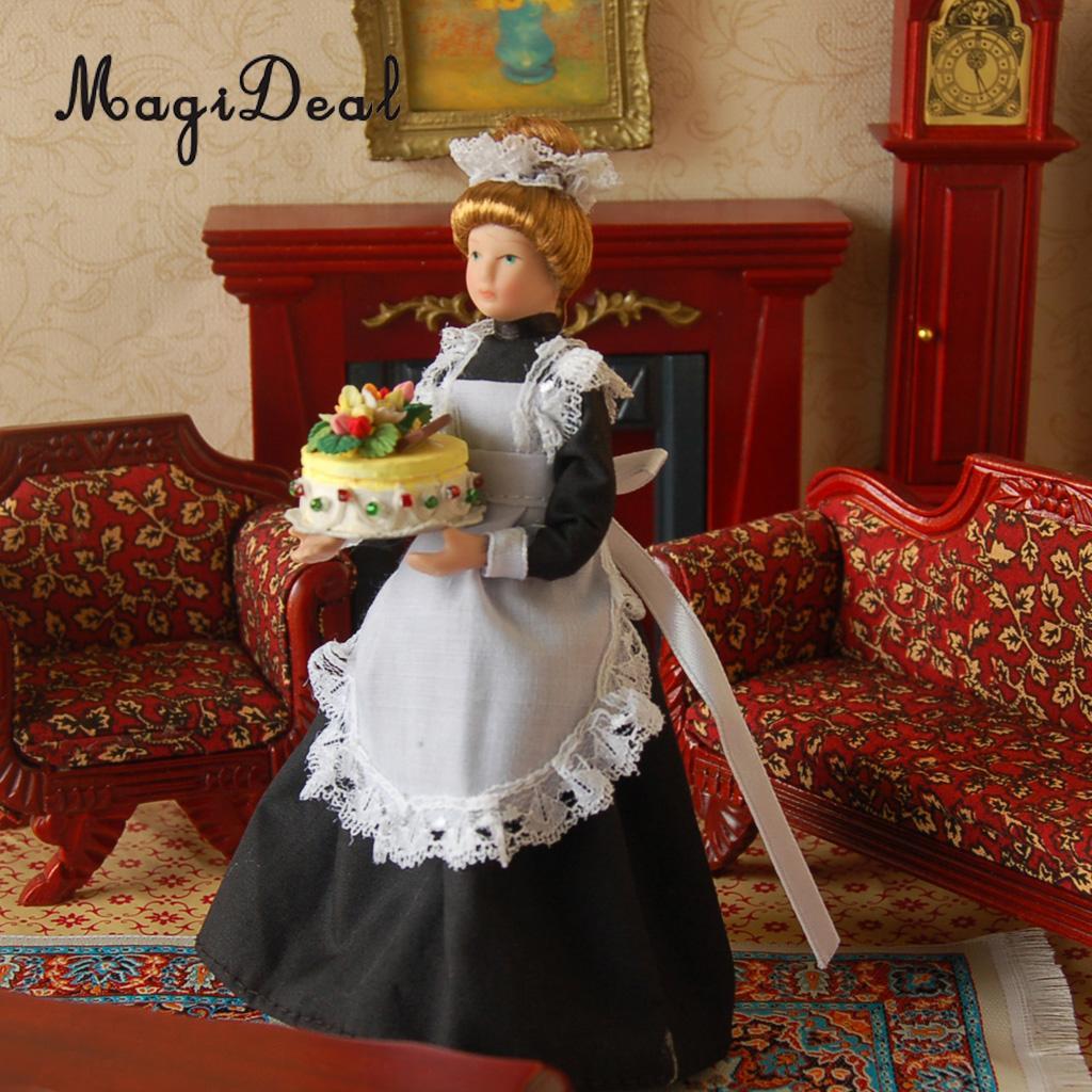 1:12 Scale Porcelain Victorian Maid Servant in Black Dress Uniform Dollhouse Miniature People Decoration 1