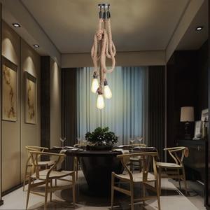 Image 5 - Cafe Bar Home Triple E27 posiadacze 3 głowice liny konopne lampa sufitowa osobowość przemysłowa Vintage Retro styl ludowy