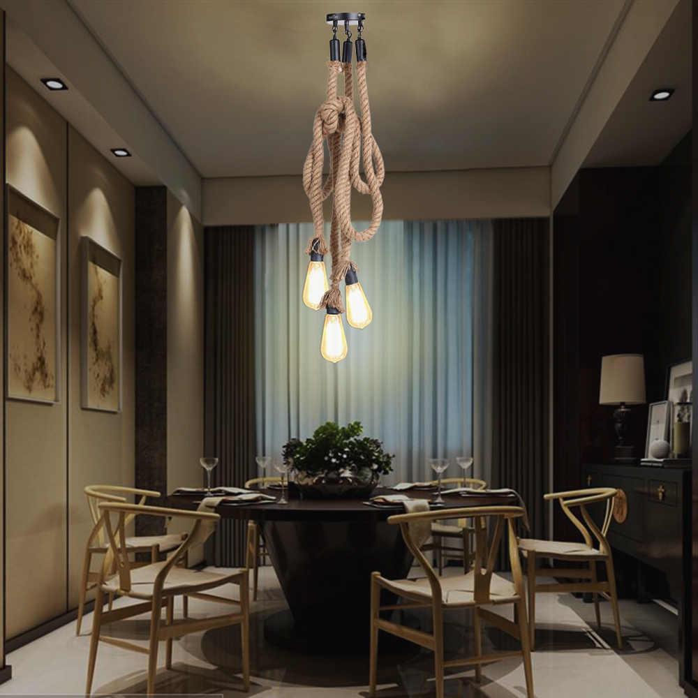 Кафе бар дома тройной E27 держатели 3 головки пеньковая веревка свет потолочный светильник индивидуальная промышленная винтажная Ретро Кантри Стиль