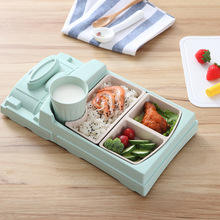 GZZT Bamboo Fiber Baby Food plate Cartoon Train Shape Bowl Lunch Box Health and Safety Kid Children Feeding Plate Tableware