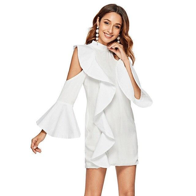 #2780 Summer White Office Dress Women High Quality Round Neck Off Shoulder Lotus Leaf Edge Flare Sleeve Irregular Temperament