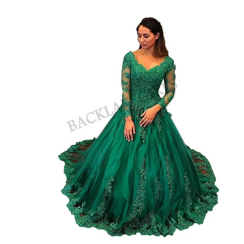 Fashionable Green   Prom     Dresses   Ball Gown Long Sleeve Appliqued Tulle Evening Women   Dress   V-neck