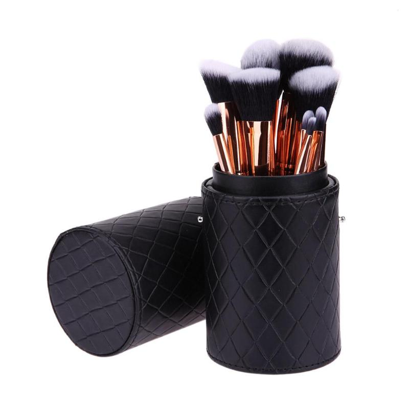 High Quality Makeup Brush Holder PU Leather Cosmetic Cup Case Pen Empty Storage Box Organizer Leather Cup Container