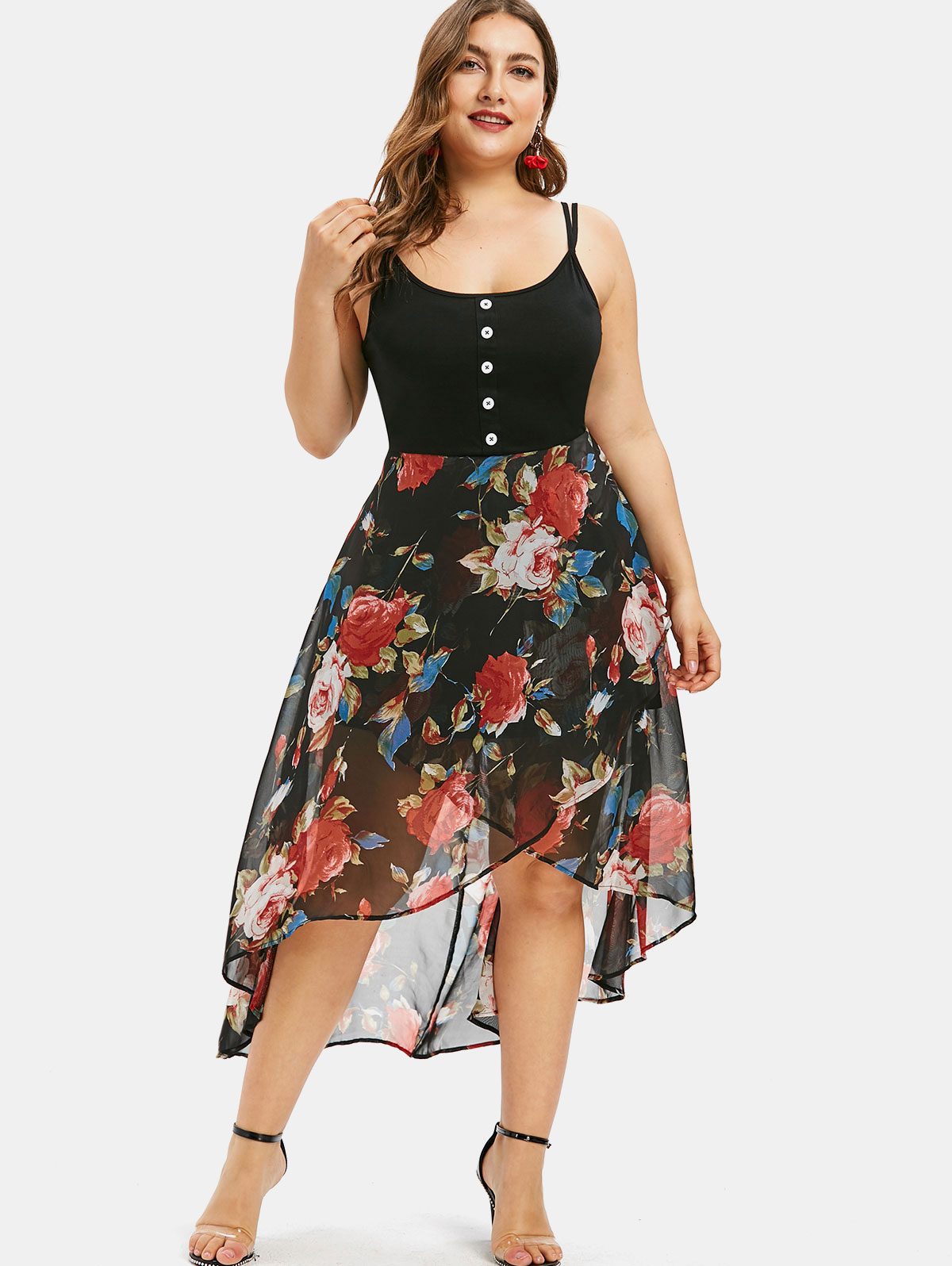 Wipalo Plus Size Floral Overlay High Low Dress Asymmetrical Spaghetti Strap Maxi Dress Bodycon Summer Robe