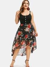 Wipalo زائد حجم الأزهار تراكب أعلى أدنى اللباس غير المتكافئة السباغيتي حزام فستان ماكسي Bodycon الصيف رداء فام Vestidos