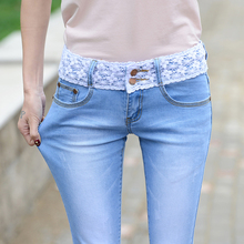 Stretch Mid Waist Straight Jeans Women Ankle-Length Lace Patchwork Denim Pants Casual Blue Preppy Style Summer Ladies Jeans white floral lace patchwork denim jeans
