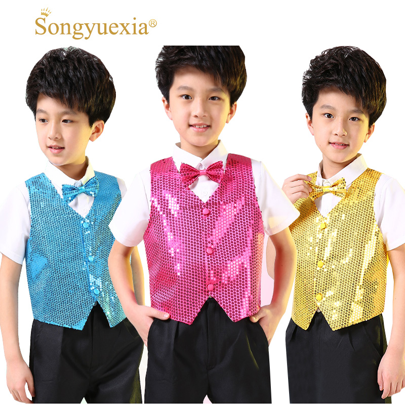 Songyuexia 10pcs Children Shining Clothes Boys Students Performance Costumes Kids Hip-hop Jazz Dance Sequined Vest Stage Dance