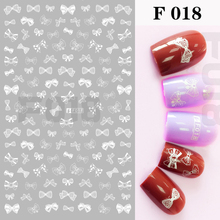 1 sheet White Butterfly Knot, Black 3D Nail Art Sticker, Lace Flower, All Sticker and