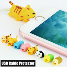 Lovely Cartoon Charging Cable Protector for iPhone iPad Phone Tablets USB Charging Line Animal Style Cable Bite Winder Cover