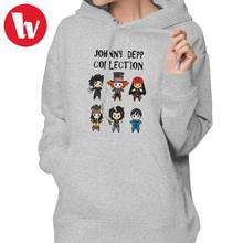 Johnny Depp Hoodie Depp Collection Hoodies Graphic Simple Hoodies Women Cotton Large White Long-sleeve Pullover Hoodie(China)