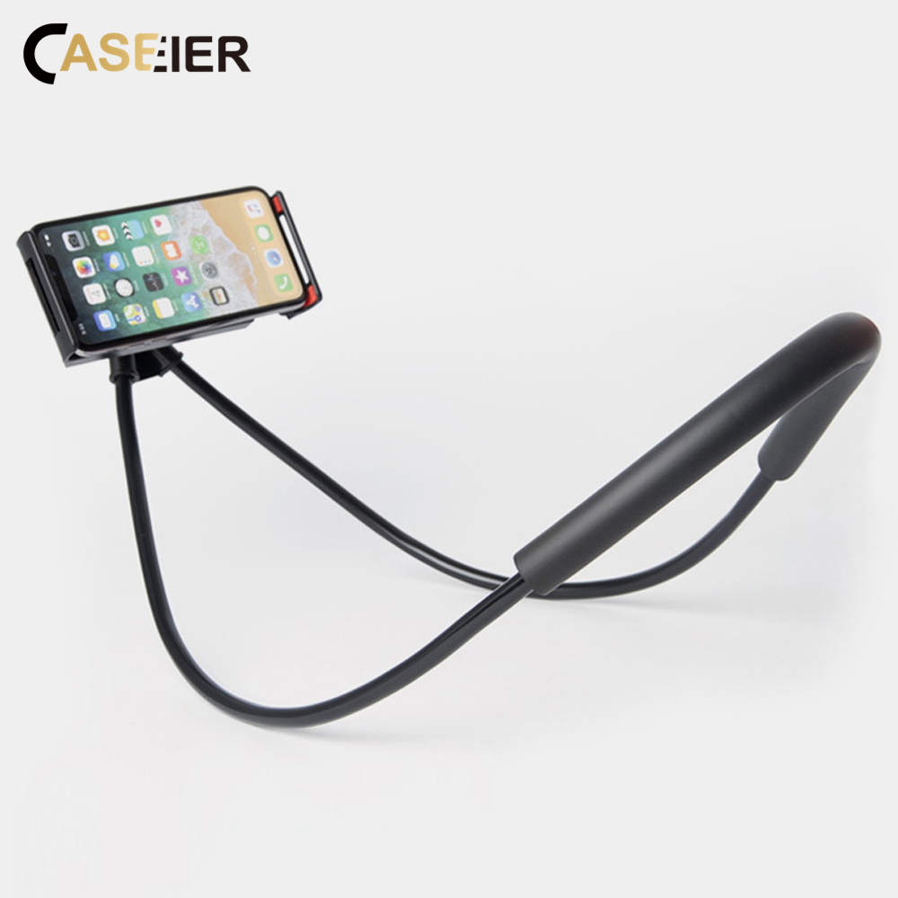 CASEIER Hanging Neck Phone Holder For Huawei P30 iPhone Phone Holder Stand In Car Desk Sofa Holders For Xiaomi Stand For Samsung