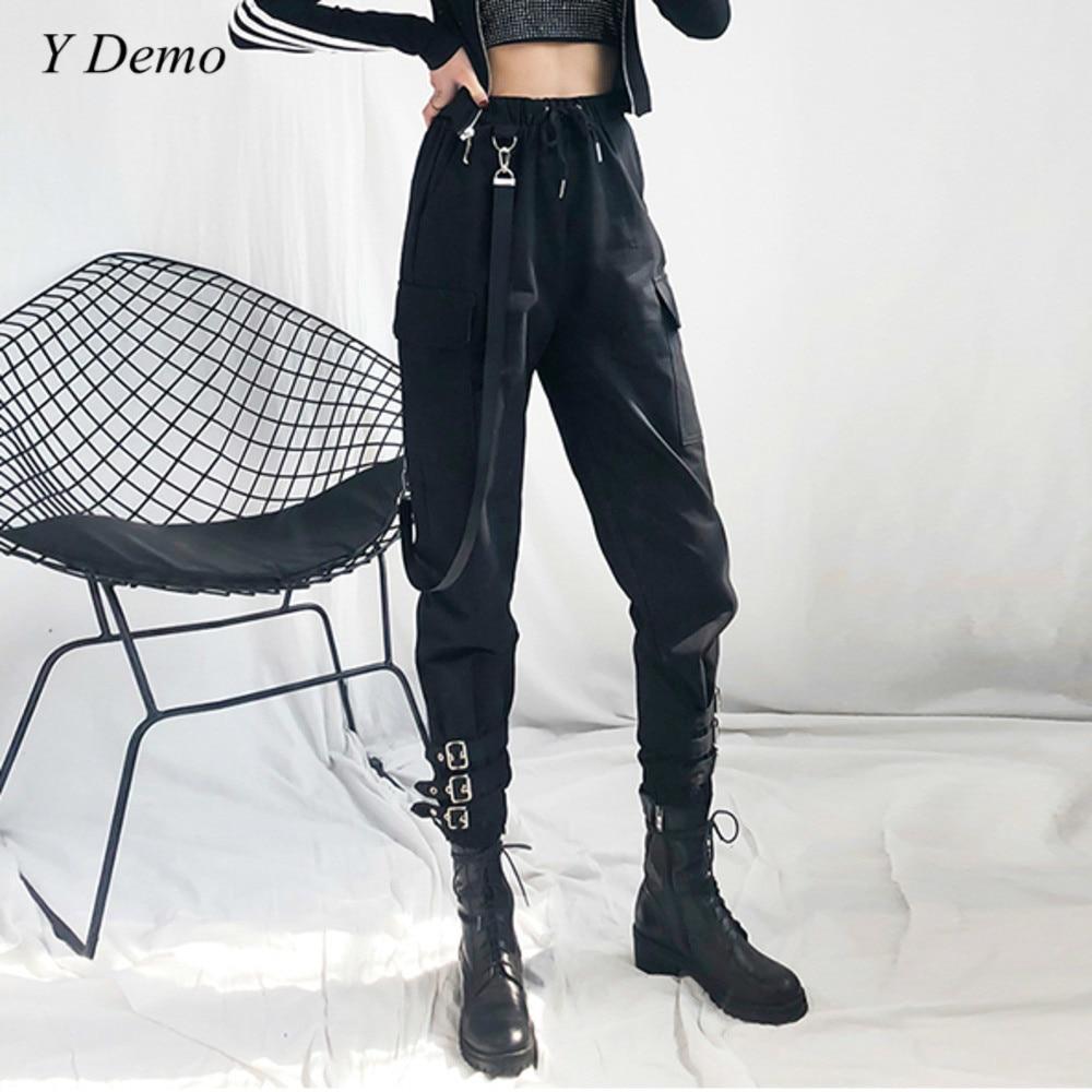 Hiphop Boot Cut Pants Women Lace-up Buckles Cool Female Strap Boots Pants