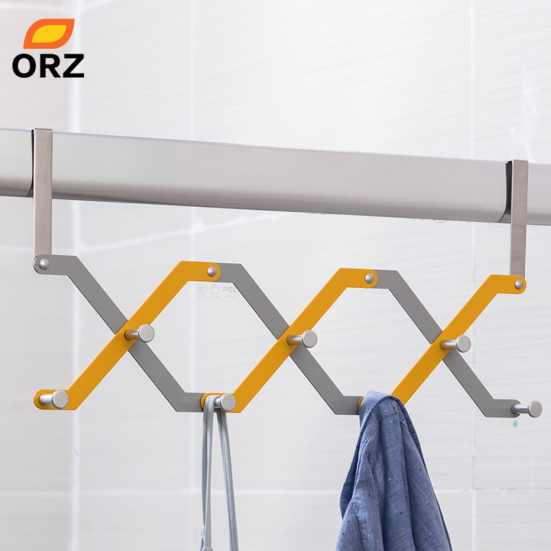 ORZ Door Hook Shelf Organizer Foldable 7 Hooks For Hanging Bethroom Clothes Hanger Rack Home Storage Holder Towel Rack Organizer