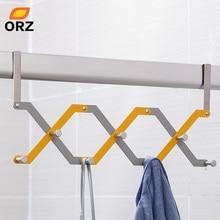 ORZ Door Hook Shelf Organizer Foldable 7 Hooks For Hanging Bethroom Clothes Hanger Rack Home Storage Holder Towel