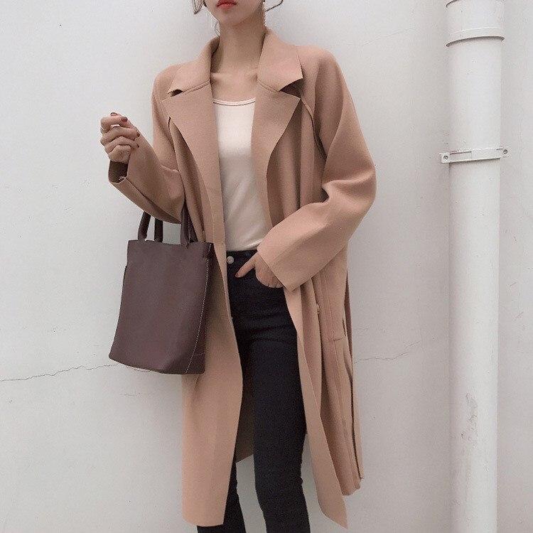 Beige Woolen Mantel Oberbekleidung Mäntel Weibliche Mode