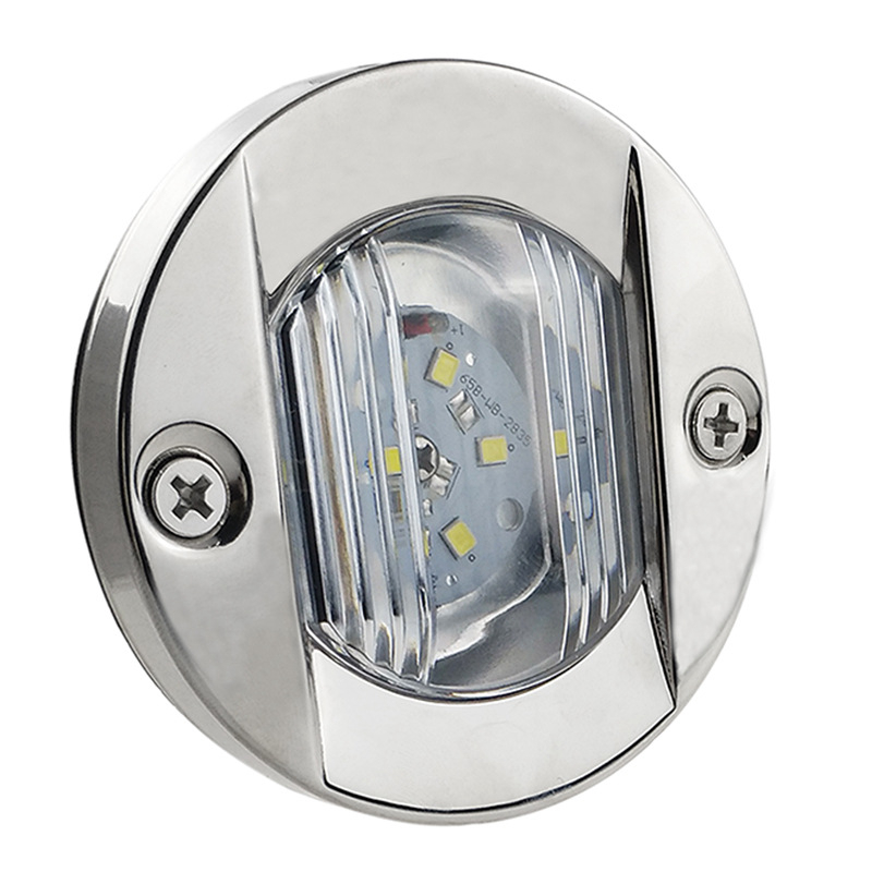 DC 12V Marine Boat Transom LED Stern Light Round Stainless Steel Cold White LED Tail Lamp Yacht Accessories White D2947
