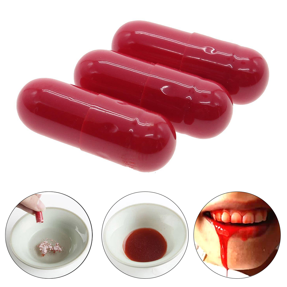 3Pcs Vomiting Blood Capsules Fake Blood Pill Fancy Dress Funny Halloween April Fools Day Joke Horror Prank Toys