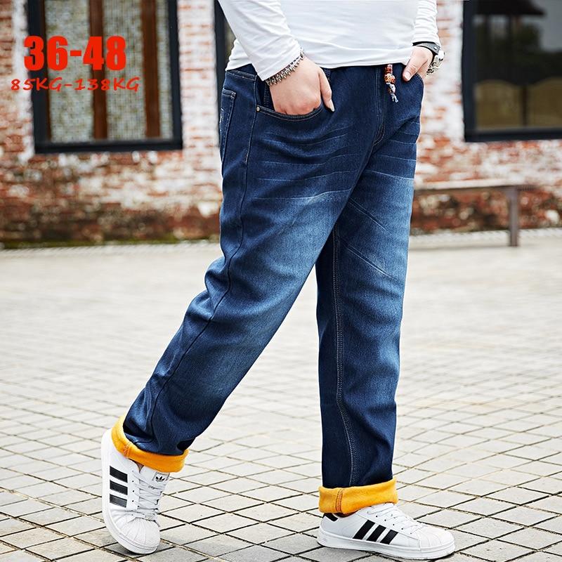 Plus Size Winter   Jeans   Men 36-48 Fleece Stretch Big Size Men Denim   Jeans   Loose Thick Warm Male   Jeans   Trousers for 85-138kg men