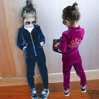2019 Spring Fall Girls Fashion Velvet Clothing Set Children's Clothes Hooded Jacket + Pants 2 Pcs 2 13 Yrs Kids Sport Suit X339