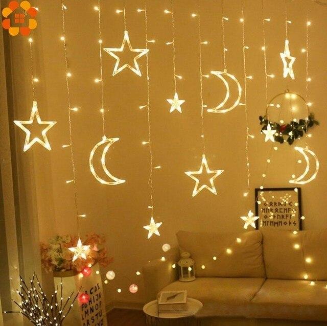 1Set 3 Stili Ramadan Star & Moon AC 220V LED Ghirlanda di Luci Della Stringa Della Tenda EID Mubarak Decorazione di Cerimonia Nuziale festa di compleanno Forniture