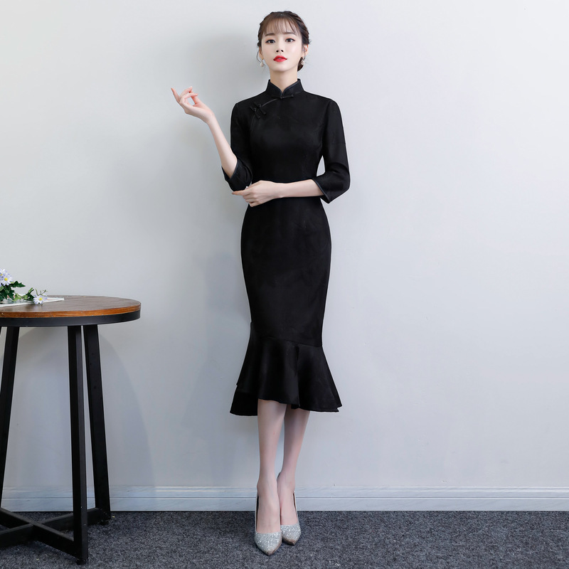 Sexy Mermaid Cheongsam Dress Jacquard China Dress Traditional Black Qipao Modern Chinese Fashion Evening Dresses Cheongsams