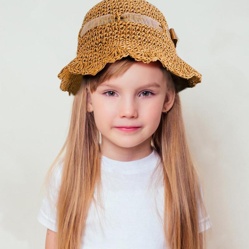 Lovely Cute Straw Hat Children's Baby Girls Sun Hat Toddler Baby Straw Sun Hat Summer Outdoor Beach Holiday Bucket Caps