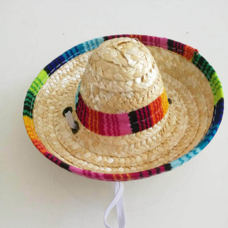 Image 4 - 6X Puppy Mini Pet Dogs Sombrero Sun Hat Beach Party Straw Hat Mexican Summer Cap Pet Products Hawaii Style Cats Caps-in Shade Accessories from Home & Garden