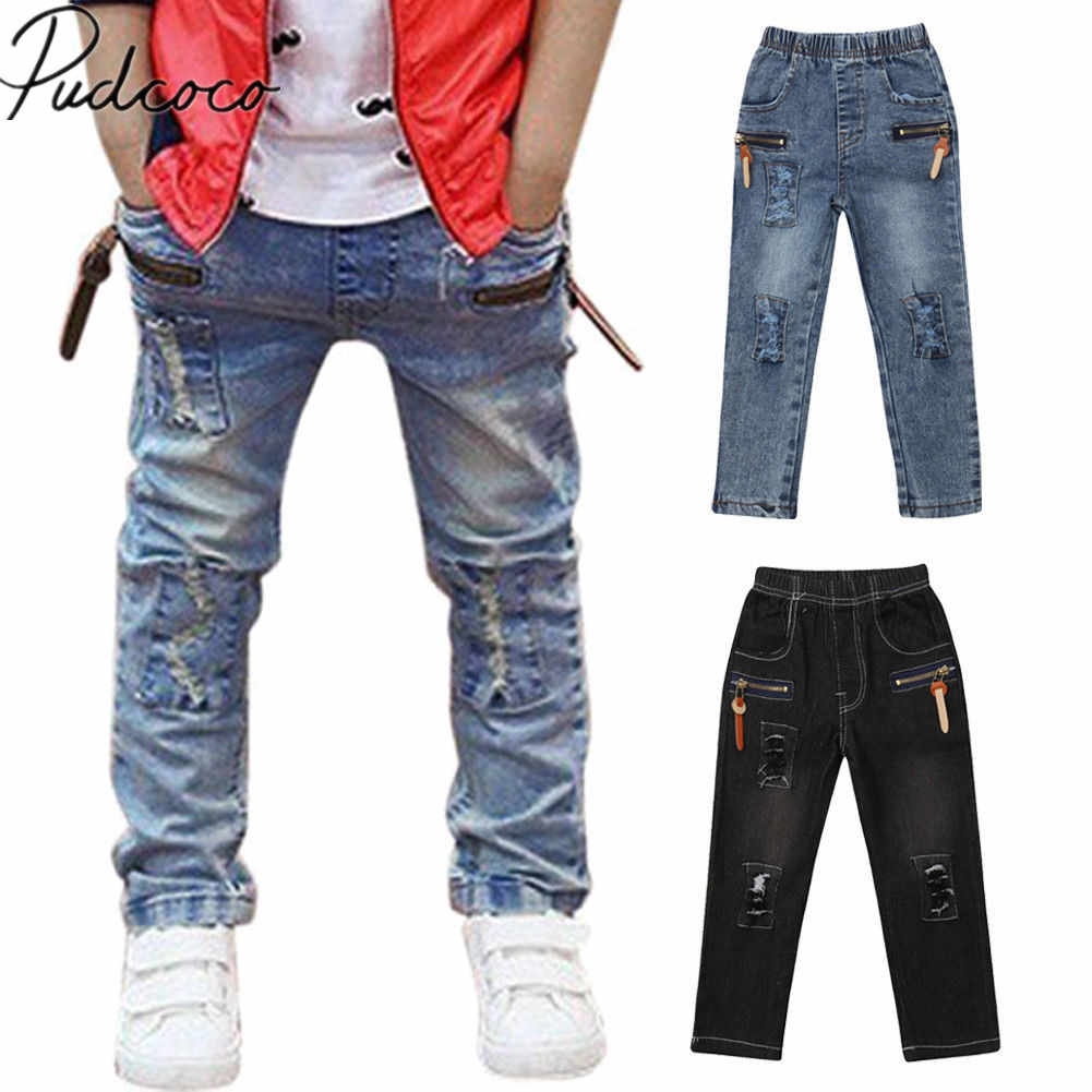 60e0882df 2019 Brand New Infant Kids Baby Boys Ripped Jeans Pants Hole Patch Elastic  Waist Slim Solid