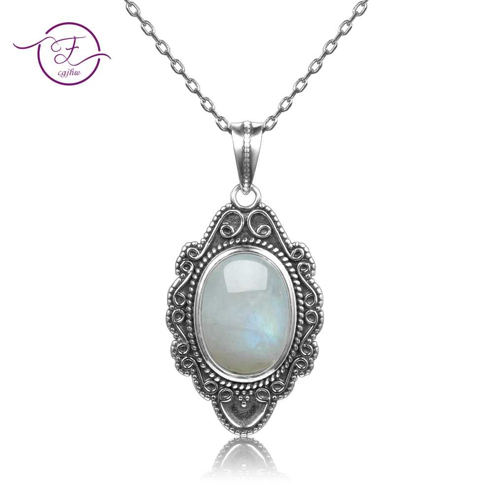 Top Quality Pure Sterling Silver Vintage Oval Rainbow Moonstone Pendants Necklaces Women's Handmade Fine Jewelry Gifts Wholesale