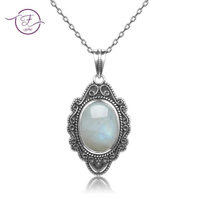 Высокое качество, чистое серебро, винтажный Овальный Радужный Лунный Камень, подвески, ожерелья, Женские Ювелирные Украшения ручной работы, подарки, оптовая продажа