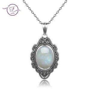 Image 1 - Qualidade superior prata esterlina pura do vintage oval arco íris moonstone pingentes colares artesanal jóias finas presentes atacado