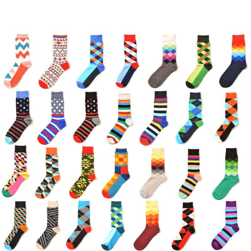 PEONFLY Mens Happy   Socks   29 Colors England Style Fashion Classic Geometry Rhombic Stripe Hit Color Harajuku Crew   Socks