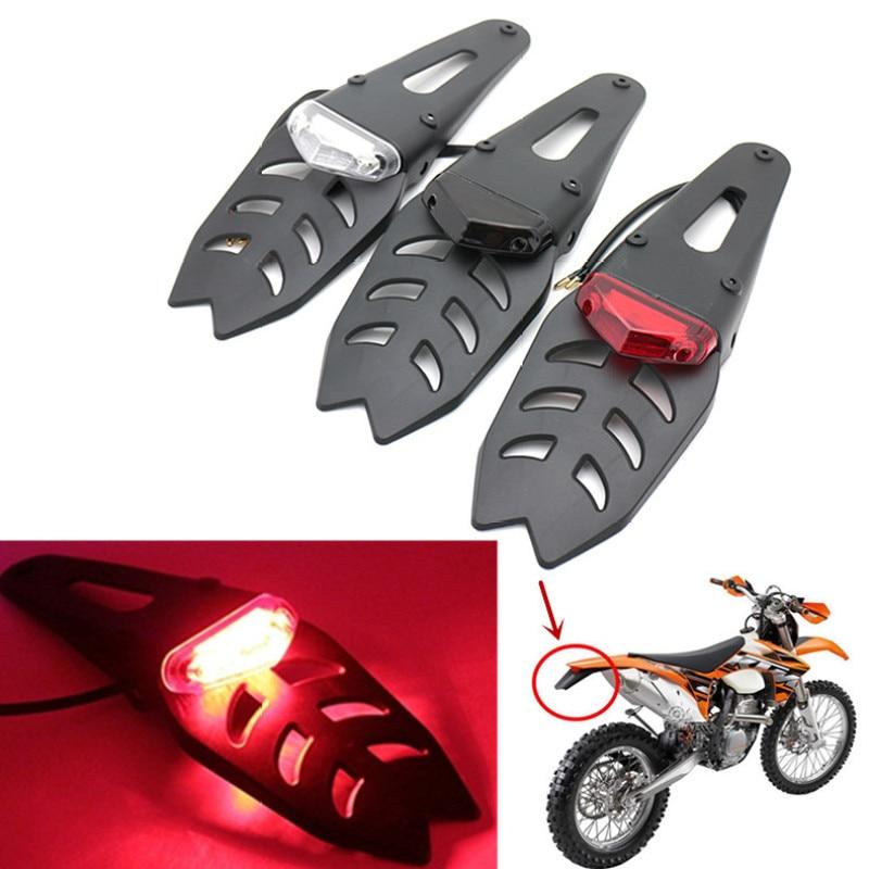 CARCHET 12V Motorcycle Rear Fender ABS License Plate Bracket Holder With Red  LED Taillight Brake Lamp For Enduro Motocross