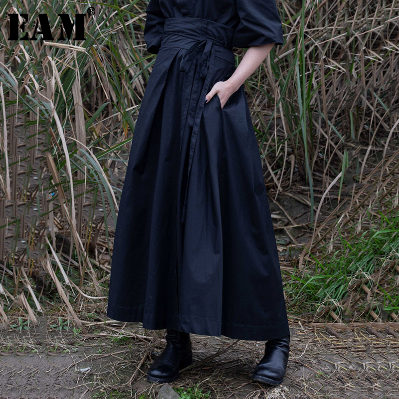 [EAM] 2020 New Spring Summer High Waist Banadahe Black Pleated Split Joint Big Hemline Half-body Skirt Women Fashion Tide JR478